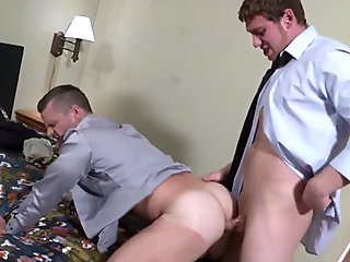 Muscular studs in suits love anal party