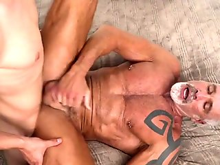 Two daddies and one twink running a bareback anal train threesome TWINKTOP.NET